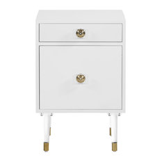 Lia Side Table With Acrylic Handle, Acrylic and Gold Tip Legs