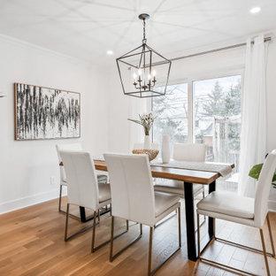 Immagine di una sala da pranzo country di medie dimensioni con pareti bianche, parquet chiaro, camino classico e cornice del camino in perlinato