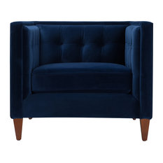 1st Avenue - Arla Armchair, Blue Velvet - Armchairs and Accent Chairs