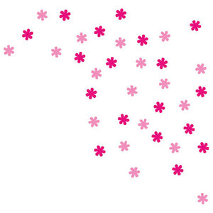Flower Wall Stickers Set, Pink