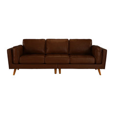 Mid Century Real Leather Sofa 3 Seater Tufted Loose Seat Cushions, Dark Brown