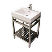 """Cisco Stainless Steel Console With Acrylic Sink, 24"""""""