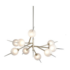 Tempest 9-Light LED Chandelier, Satin Silver Leaf Finish, Clear Glass Shade