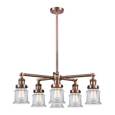 Small Canton 6-Light Chandelier, Antique Copper, Clear