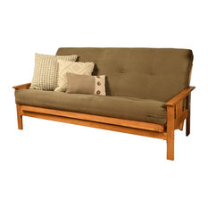 Caleb Frame Futon With Butternut Finish, Suede Olive