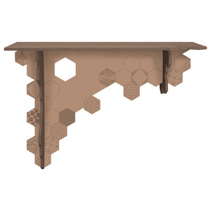 Hexagon Asymmetrical Wall-Mounted Console Table, Cream