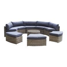 Bridgman - Mayfair 9-Piece Curved Modular Rattan Garden Furniture Set - Garden Lounge Sets