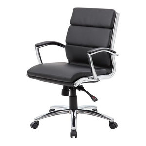 Boss Office CaressoftPlus Executive Mid-Back Chair in Black
