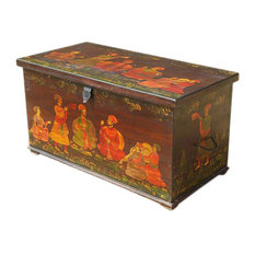 Heritage Hand Paint Wood Storage Trunk Box Coffee Table