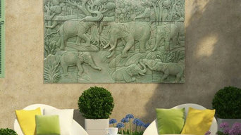Elephants in Green Aged Sandstone