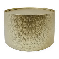 Rache Modern Round Accent Table With Hammered Iron, Gold