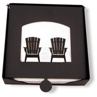 Village Wrought Iron  2-Piece Napkin Holder with Adirondack Chairs