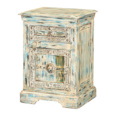 Winter Morning Gothic Reclaimed Wood Rustic Bedside Table