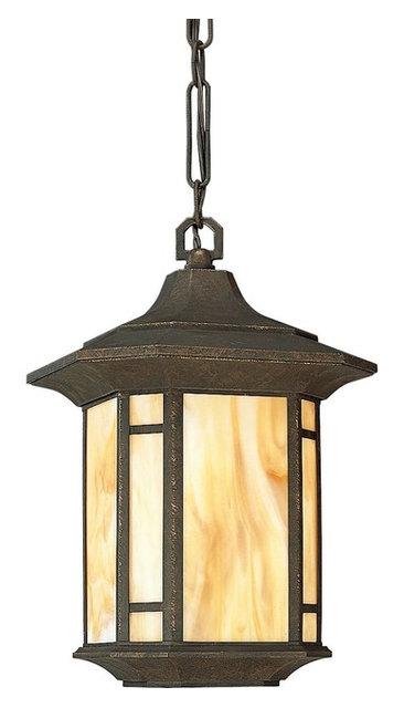 Arts And Crafts 1 Light Hanging Lantern Weathered Bronze Honey Art Gl