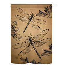 Dragonfly Burlap 2-Sided Vertical Impression House Flag