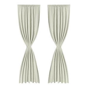 VidaXL Energy-Saving Blackout Curtains, Cream, Double Layer, Set of 2