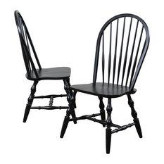 Windsor Spindleback Dining Chairs, Set of 2, Antique Black