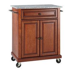 Solid Granite Top Portable Kitchen Cart/Island, Classic Cherry Finish