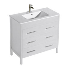 "Inolav - Bathroom Vanity Morris 36"" with Porcelain Sink Top, Matte White - Bathroom Vanities and Sink Consoles"
