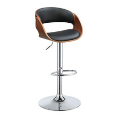 ACME Camila Adjustable Bar Stool In Black And Walnut