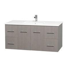 "Wyndham Single Bathroom Vanity With Sink, Gray Oak, White Man-Made Stone, 48"""