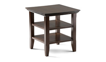 Arcadian Solid Wood End Table, Rich Tobacco Brown