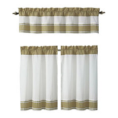 Tatianna Ivory White Brown Taupe Pintuck Striped Kitchen Curtain Set, 3 Piece
