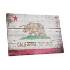 """Vintage California Flag Gallery Wrapped Canvas Print, 30""""x20""""x1.25"""""""