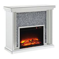 Wood and Mirror Electric Fireplace With Faux Crystals Inlay, Clear and Black