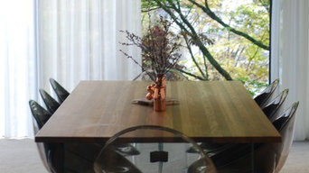 Remuera Oak and glass table - floating wall unit