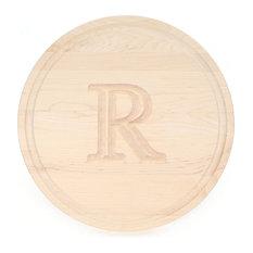 BigWood Boards Round Maple Monogram Cheese Board, R