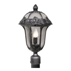Rose Garden Large Post Mount Light with Seedy Glass, Copper
