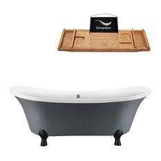 "68"" Gray Clawfoot Tub and Tray, Black Feet, Chrome External Drain"
