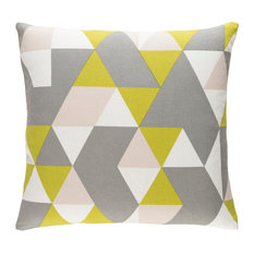 Surya Modern Cotton Medium Gray and Lime and Ivory Accent Pillow, 18  x18