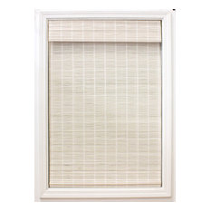 "Cordless Bayshore Matchstick Bamboo Roman Shade, White, 46""x64"""