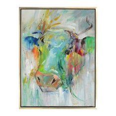 """Harp and Finial HFW32884 Mae 42"""" x 32"""" Framed Cow Painting on Canvas"""