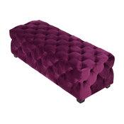GDF Studio Provence Tufted Velvet Fabric Rectangle Ottoman Bench, Purple