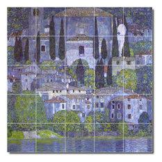 "Gustave Klimt Village Painting Ceramic Tile Mural #66, 30""x30"""