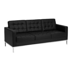Flash Furniture Hercules Lacey Series Contemporary Black Leather Sofa With Stainless Steel Frame Sofas