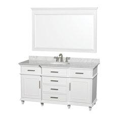 "Single Bathroom Vanity Set, White With White Carrera Marble Top, 60"""