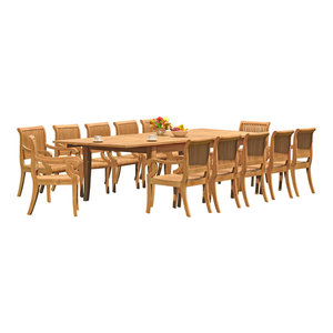 "13-Piece Outdoor Teak Set: 122"" X-Large Rectangle Table, 12 Giva Arm Chairs"