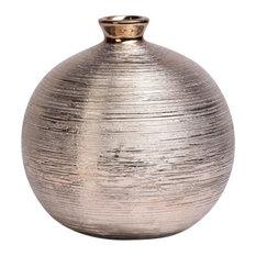 Spun Round Metallic Vase