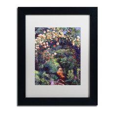 "David Lloyd Glover 'Rose Arbor Pathway' Art, Black Frame, 11""x14"", White Matte"