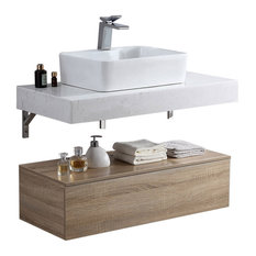 White Floating Wall Mounted Bathroom Vanity Set With Faux Mable Top&Vessel Sink,