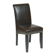 Espresso Bonded Leather Parsons Chair