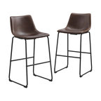 "30"" Faux Leather Bar Stool in Brown (Set of 2)"