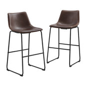 """30"""" Faux Leather Bar Stool in Brown (Set of 2)"""