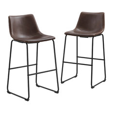 Faux Leather Bar Stools, Set of 2, Brown