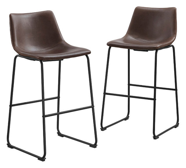 Faux Leather Bar Stools, Brown