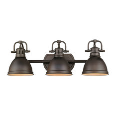 Duncan 3-Light Vanity, Chrome With Black Shade, Rubbed Bronze, Rubbed Bronze
